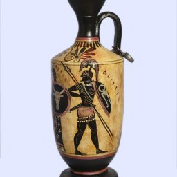 Archaic black-figure lekythos with Achilles and Thetis 2