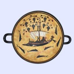 God Dionysus in a ship-Attic black-figure kylix 1