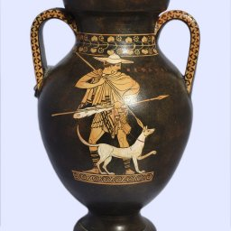 Classical red-figure amphora with Hermes, a Satyr and Cephalus  2