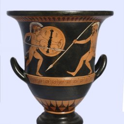 Classical red-figure crater with Achilles - Hector - Athena, greek pottery replica 1