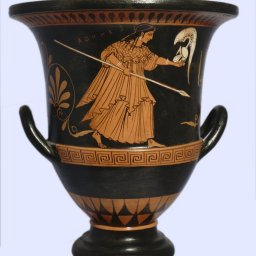 Classical red-figure crater with Achilles - Hector - Athena, greek pottery replica 3