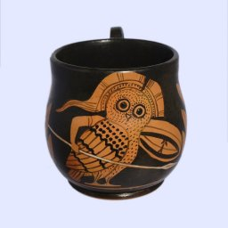 Classical red-figure one-handled skyphos (cup) with an owl, symbol of wisdom 1