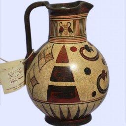 Handmade Minoan jug with geometric and leafy decoration 2