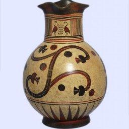 Handmade Minoan jug with geometric and leafy decoration 1