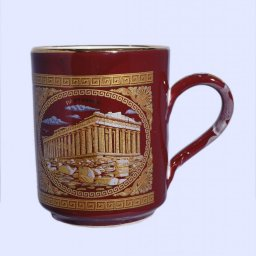 Red porcelain mug with the Acropolis - 24K gold  1
