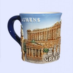 Porcelain mug decorated with a relief of the Acropolis of Athens 1
