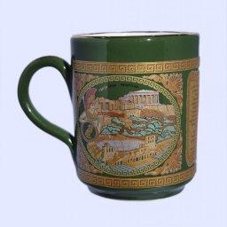 Green porcelain mug with the Acropolis - 24K gold  1