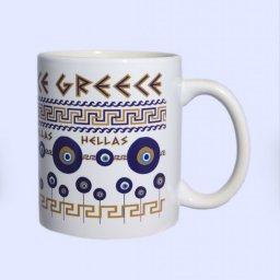 Porcelain mug with Evil Eyes and the Greek Key design - Meander 1