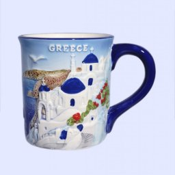 Porcelain mug decorated with a relief of the greek island of Santorini 1