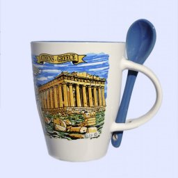 Porcelain cup depicting the Parthenon of Acropolis, accompanied by a blue spoon 1