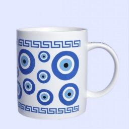 Porcelain mug with Evil Eyes and the Greek key design 1