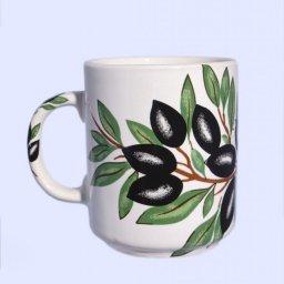 Porcelain mug with olives and olive leaves 1