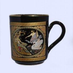 Black porcelain mug with Zeus and Leda - 24K gold  1