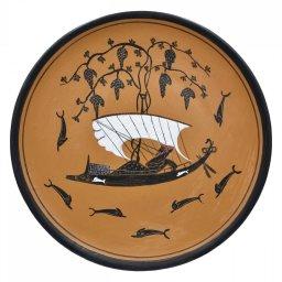 Greek Attic black-figure ceramic plate depicting God Dionysos in a ship (20cm) 1