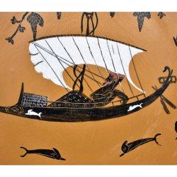 Greek Attic black-figure ceramic plate depicting God Dionysos in a ship (20cm) 2