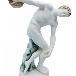 Discus thrower, Discobolus of Myron, greek alabaster statue with color 1