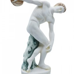 Discus thrower, Discobolus of Myron, greek alabaster statue with color 2