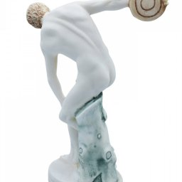 Discus thrower, Discobolus of Myron, greek alabaster statue with color 3