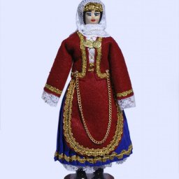 Handmade small doll of a greek woman dressed in traditional costume from Salamis 1