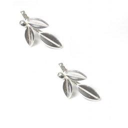 Greek olive branch silver drop - dangle earrings 1