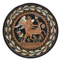 Greek ceramic plate depicting Eros, the Greek god of love, with a fawn 1