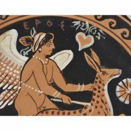 Greek ceramic plate depicting Eros, the Greek god of love, with a fawn 3