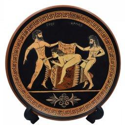 Ancient Erotic Scene Art, Threesome Sex, Handmade Greek Ceramic Plate (24cm) 2