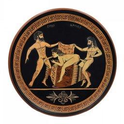 Ancient Erotic Scene Art, Threesome Sex, Handmade Greek Ceramic Plate (24cm) 1