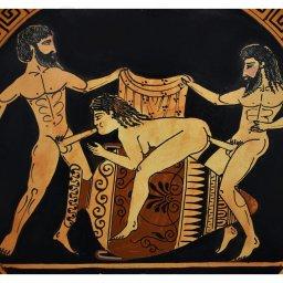 Ancient Erotic Scene Art, Threesome Sex, Handmade Greek Ceramic Plate (24cm) 3