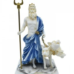 Hades, Pluto, God of the dead and the king of the underworld, small alabaster statue with color 1