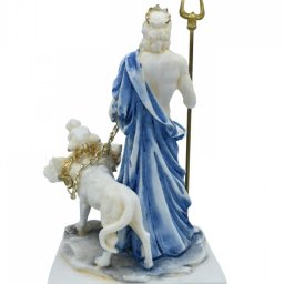 Hades, Pluto, God of the dead and the king of the underworld, small alabaster statue with color 2