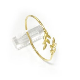 Olive branches gold plated silver cuff bracelet 1