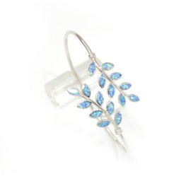 Olive branches silver cuff bracelet with opal 1
