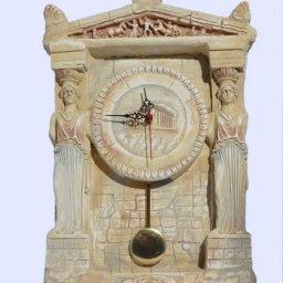 Plaster pendulum wall clock with Caryatids (Karyatides) 1