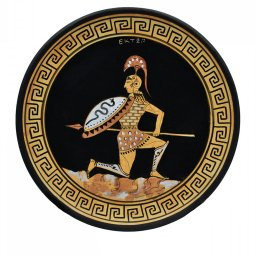 Greek ceramic plate depicting Hector, prince and warrior of Troy (28cm) 1