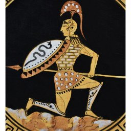 Greek ceramic plate depicting Hector, prince and warrior of Troy (28cm) 3