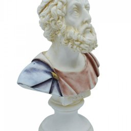 Homer alabaster bust statue with color 2