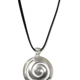 Greek spiral large thick silver pendant 2
