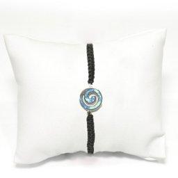 Greek spiral silver macrame bracelet with opal 1