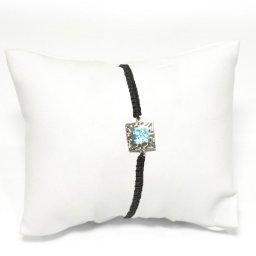 Greek key design - Meander silver macrame bracelet with opal 1