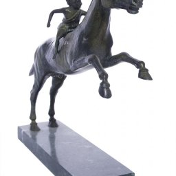 Greek bronze replica statue of Jockey of Artemision on a marble base 2