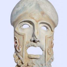 Greek medium plaster mask sculpture of Ares the god of war 1