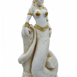 Medusa, Gorgo, greek alabaster statue in gold tone, the mythical creature 1