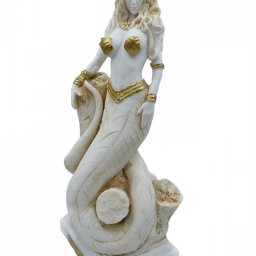 Medusa, Gorgo, greek alabaster statue in gold tone, the mythical creature 2