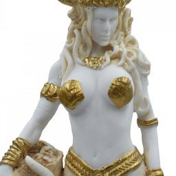 Medusa, Gorgo, greek alabaster statue in gold tone, the mythical creature 3