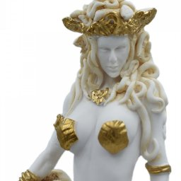 Medusa, Gorgo, greek alabaster statue in gold tone, the mythical creature 4