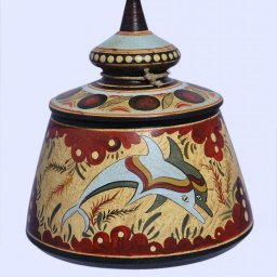 Minoan small Greek pyxis with dolphins 1