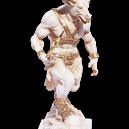Minotaur with axe greek alabaster statue 3