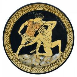 Greek ceramic plate depicting Theseus and Minotaur (24cm) 1