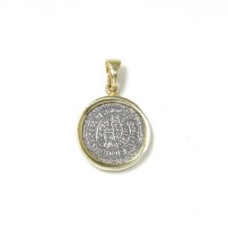 Thick Phaistos Disc gold plated - silver pendant 1